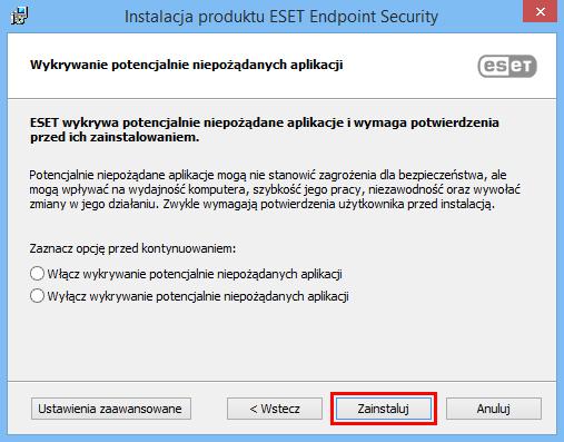 Po kliknięciu Zainstaluj, nastąpi automatycznie zainstalowanie się aplikacji antywirusowej ESET Endpoint na stacji roboczej.