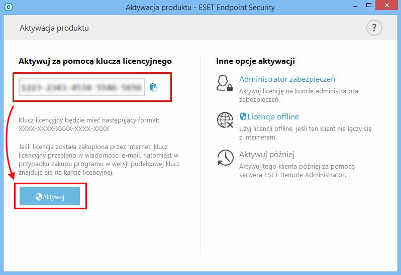Wprowadź klucz licencyjny, otrzymany od home.pl, a następnie kliknij Aktywuj.