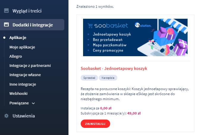 Aplikacja: Soobasket – Jednoetapowy koszyk