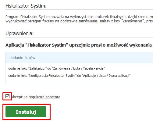 Instalacja aplikacji Fiskalizator w eSklepie