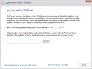 Instalacja Windows 10 - podaj klucz produktu