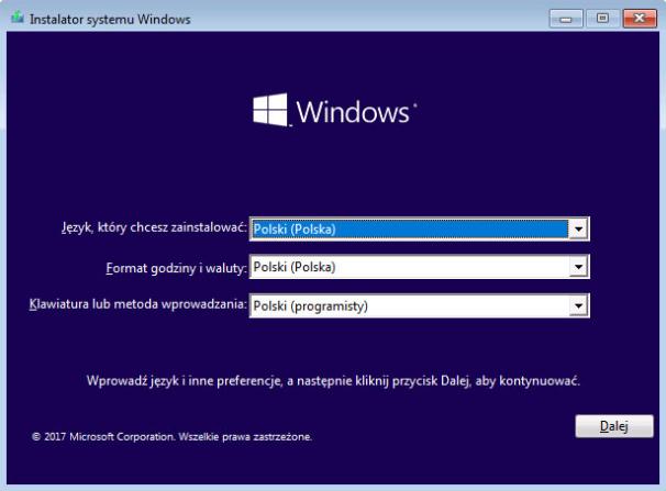 Instalacja Windows 10 - widok instalatora