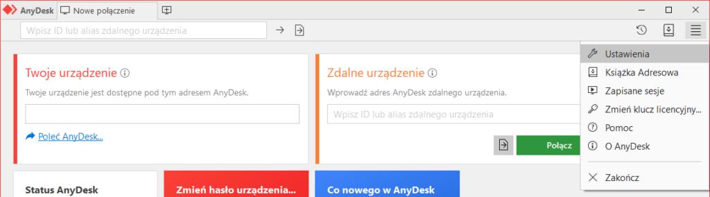 ID AnyDesk - z głównego pulpitu przejdź do ustawień