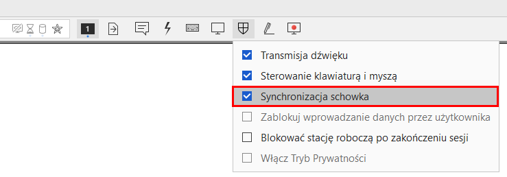 AnyDesk - Przejdź do menu uprawnień w celu synchronizacji schowka