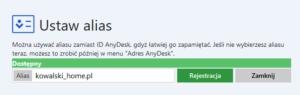 ID AnyDesk - tworzenie aliasu