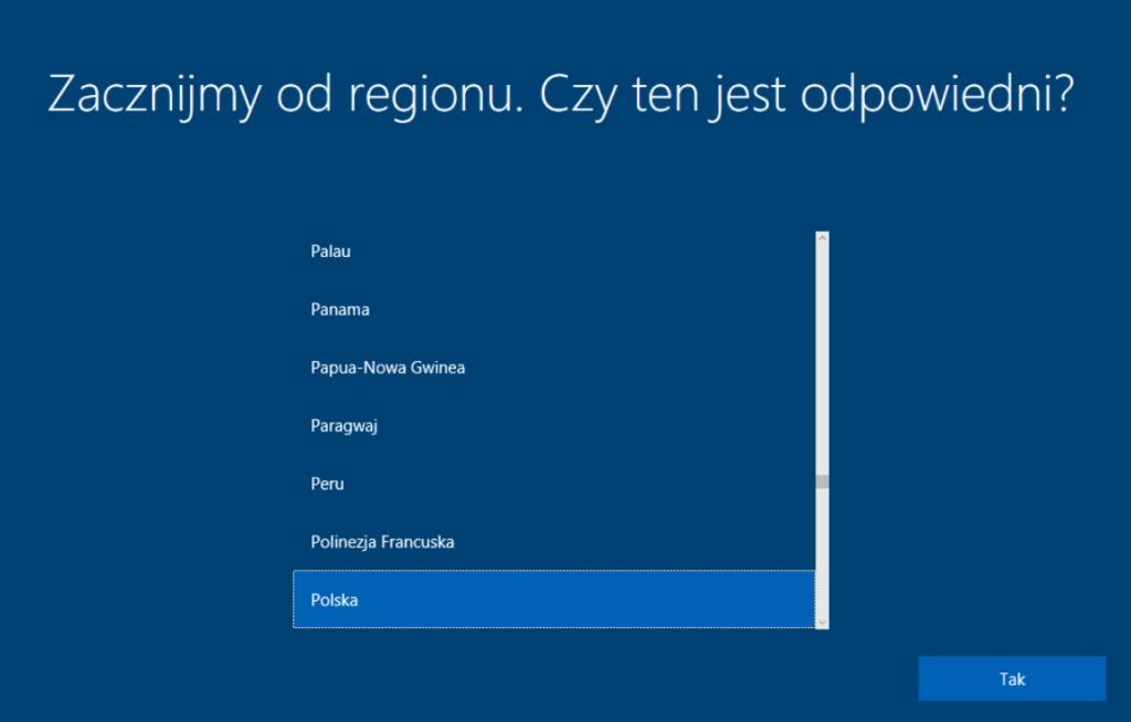 Instalacja Windows 10 - wybór regionu