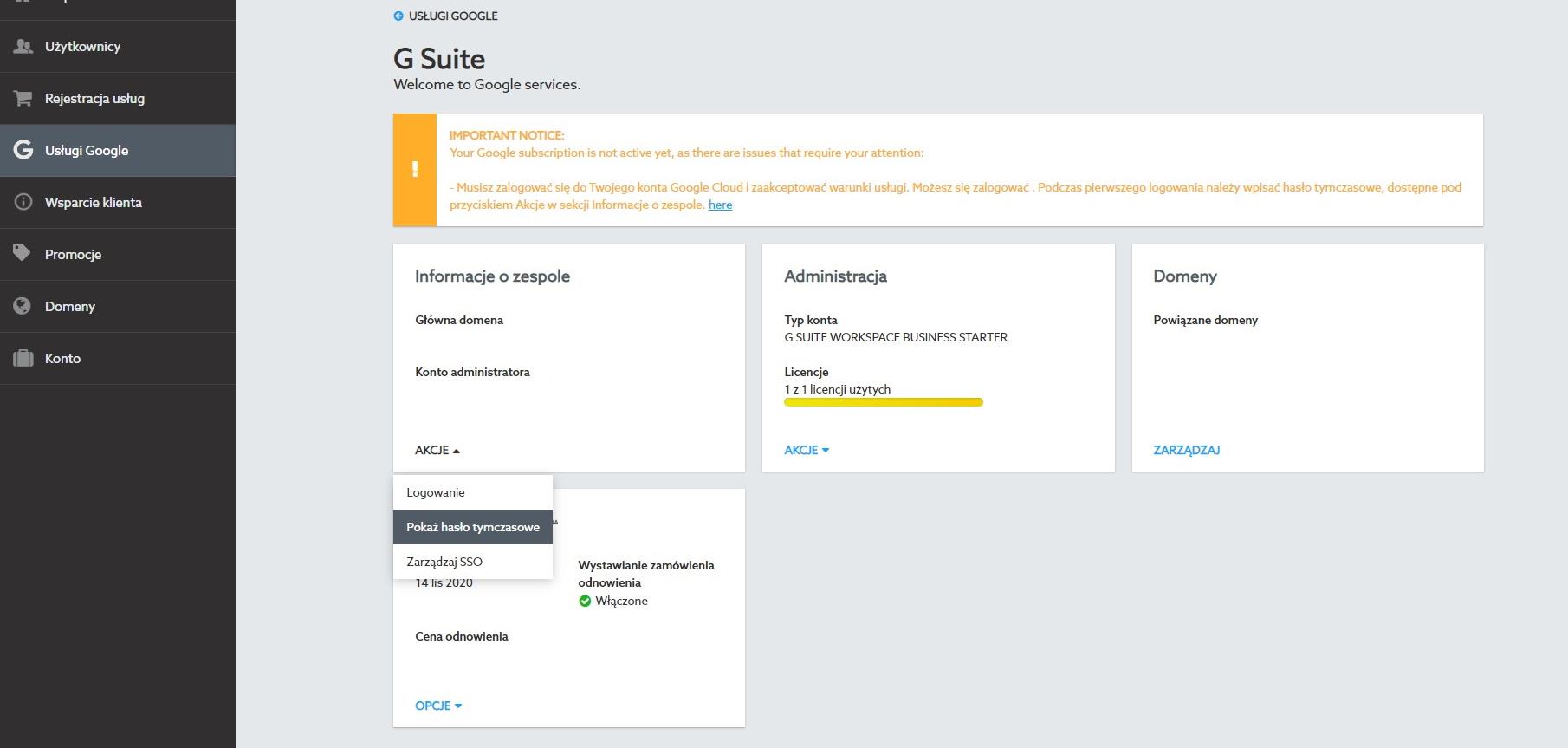 Konfiguracja konta Google Workspace w home.pl