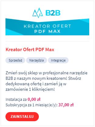 Kreator Ofert PDF Max - instalacja