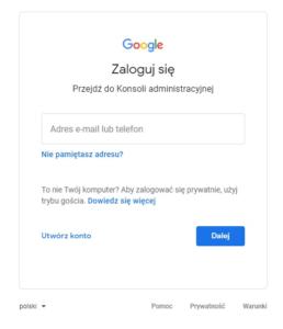Ekran logowania w Google Workspace