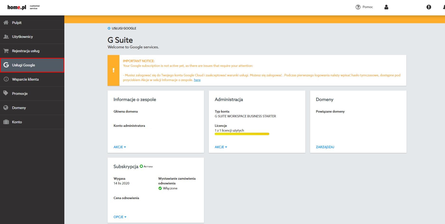 Pierwsza konfiguracja Google Workspace w Panelu home.pl