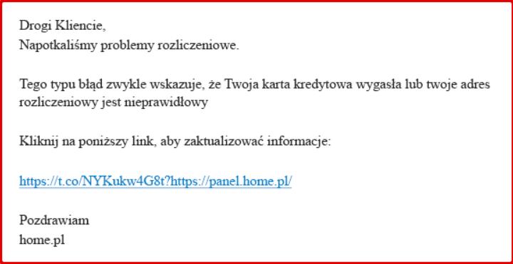 Fałszywa wiadomość phishing