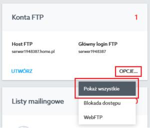 Konta FTP