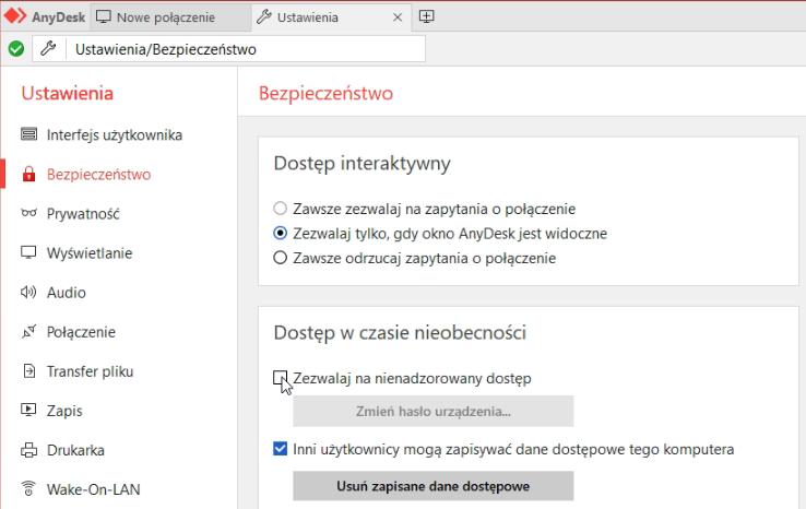 Nienadzorowany zdalny dostęp Anydesk - Ustawienia/Bezpieczeństwo