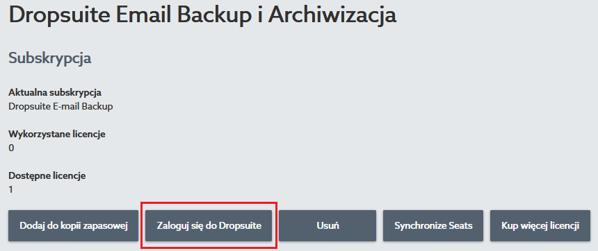 Zaloguj się do Dropsuite Email Backup