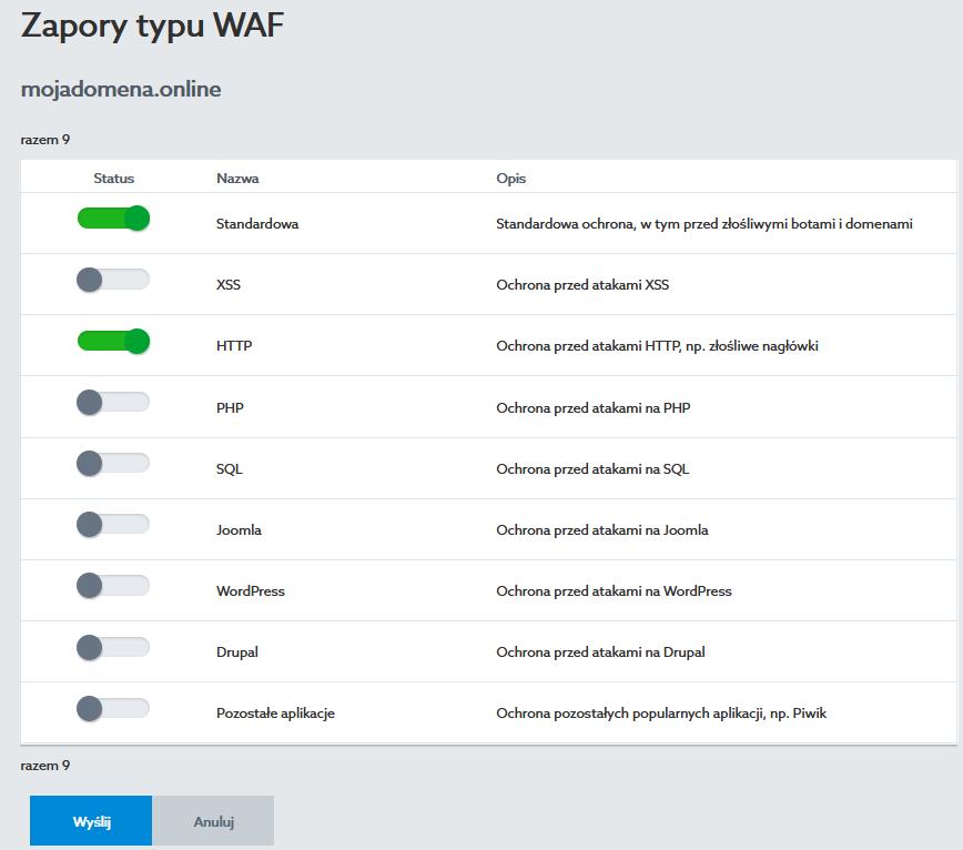 Zarządzaj zaporami typu WAF