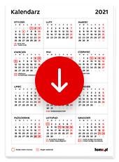 Kalendarz 2021 w pionie pdf do druku - wykaz świąt i długie weekendy