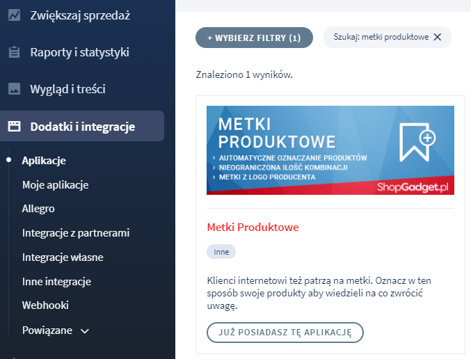 Aplikacja: Metki produktowe
