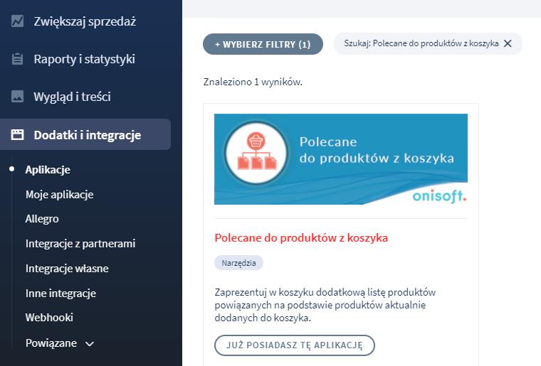 Aplikacja: Polecane do produktów z koszyka