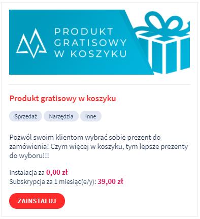 Aplikacja: produkt gratisowy w koszyku