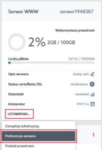 serwer www - preferencje serwera