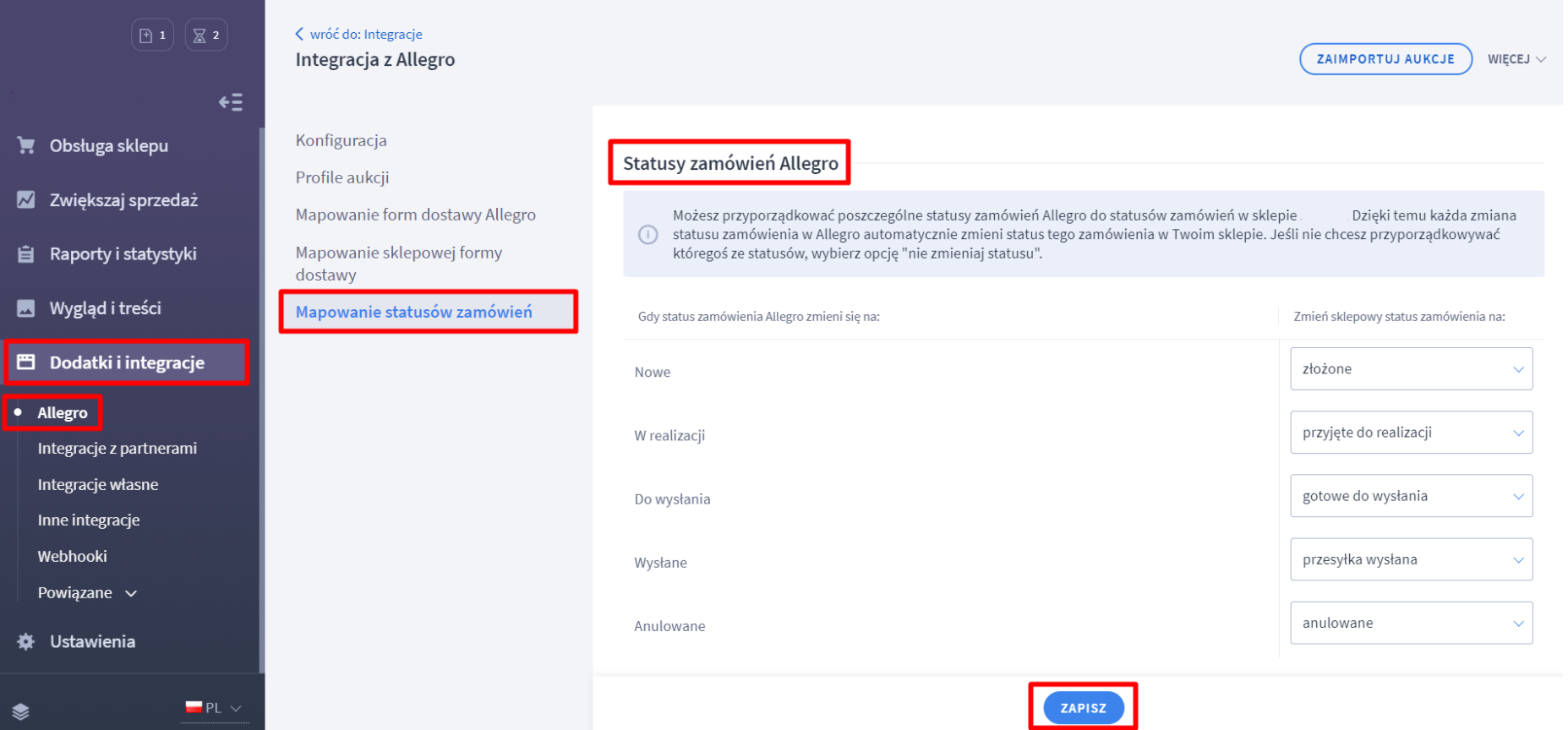 Allegro: Mapowanie statusów zamówień