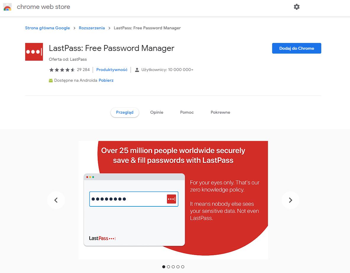 Instalacja LastPass w przeglądarce - free password manager