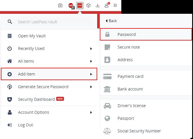 Ręczne dodawanie nowego hasła w LastPass Vault - add item - password