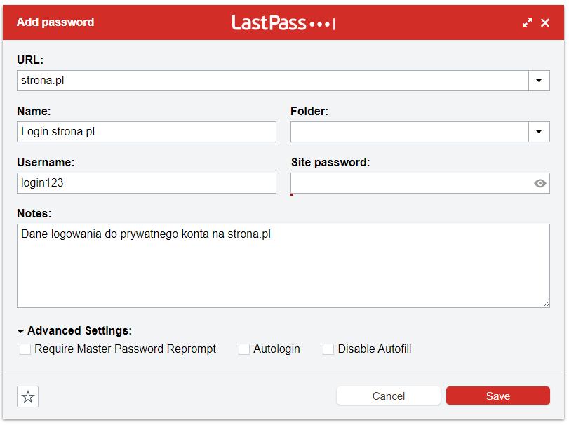 Ręczne dodawanie nowego hasła w LastPass Vault - save