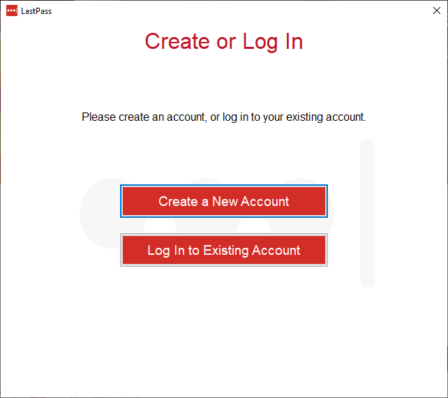 Instalacja LastPass w systemie Windows - create or log in