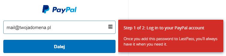 Dodawanie hasła przy pierwszym logowaniu - paypal