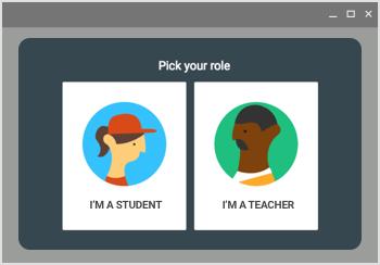 Logowanie Google Classroom - instrukcja - wybór roli