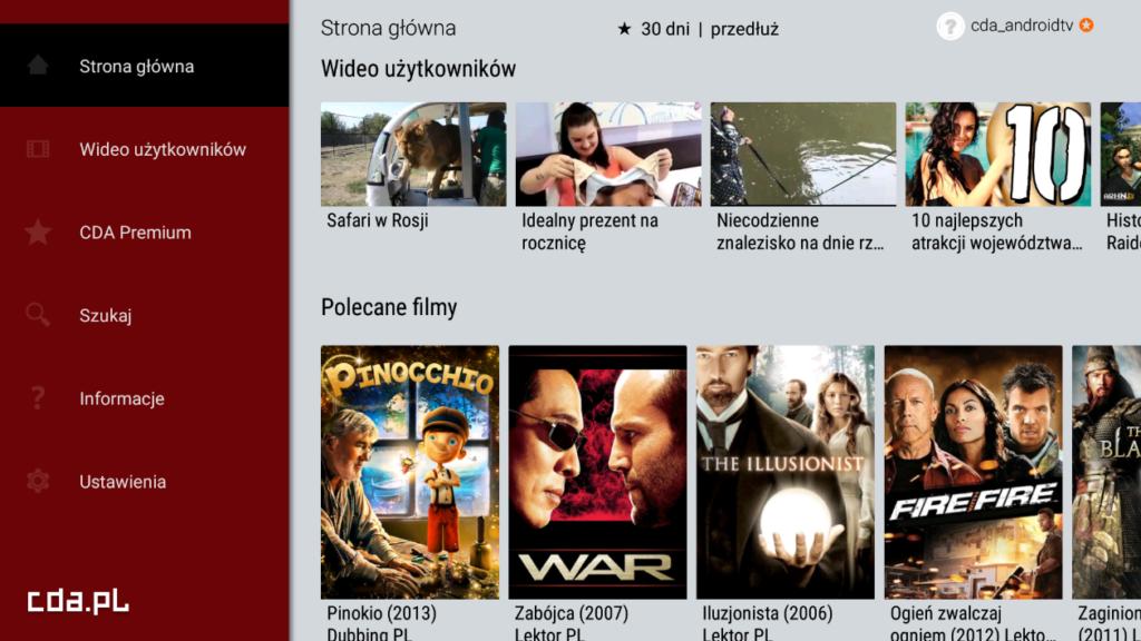 Widok pola wyboru filmu w aplikacji CDA Premium w telewizorze ze Smart TV