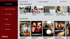 Widok pola wyboru filmu w aplikacji CDA Premium w telewizorze z Smart TV