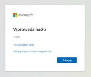 Strona logowania do Microsoft 365 (dawniej Office 365).