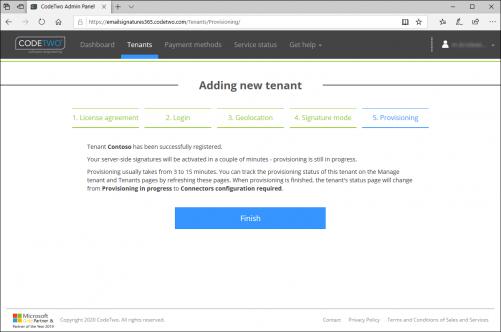 Pomyślna rejestracja dzierżawcy w trybie podpisu po stronie serwera.