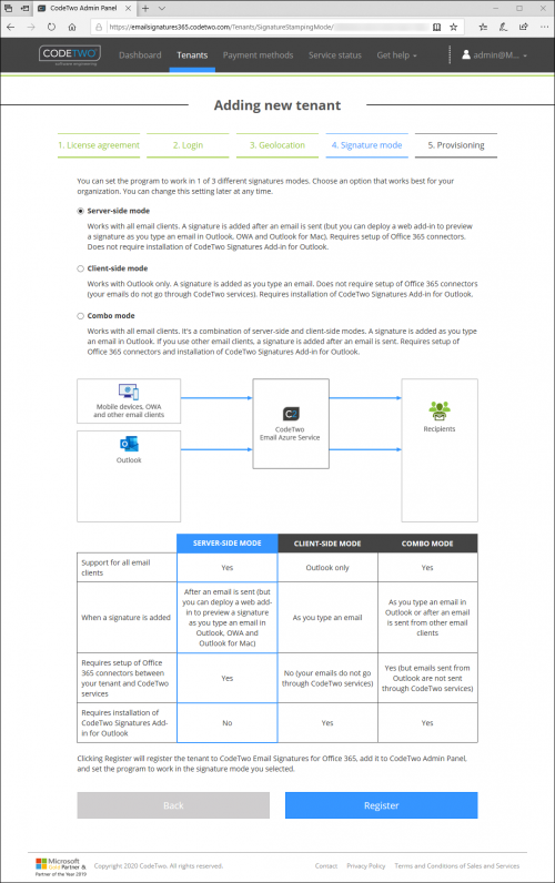 Wybór trybu podpisu w CodeTwo (po stronie serwera, po stronie klienta lub tryb combo).