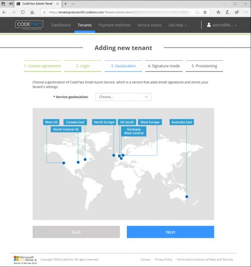 Wybór lokalizacji usługi CodeTwo Email Azure.