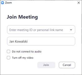 Dołączanie z aplikacji Zoom