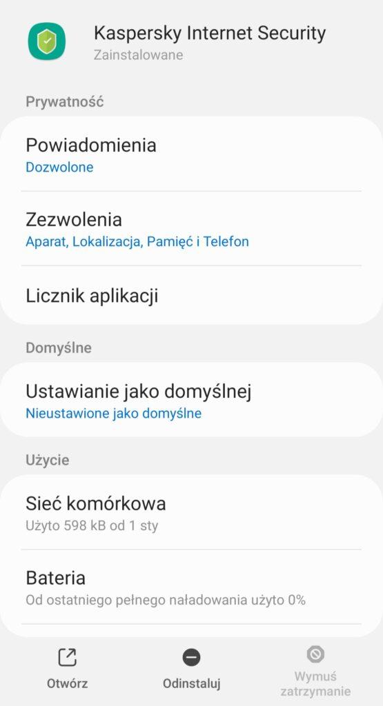 Jak odinstalować Kaspersky for Android z telefonu?