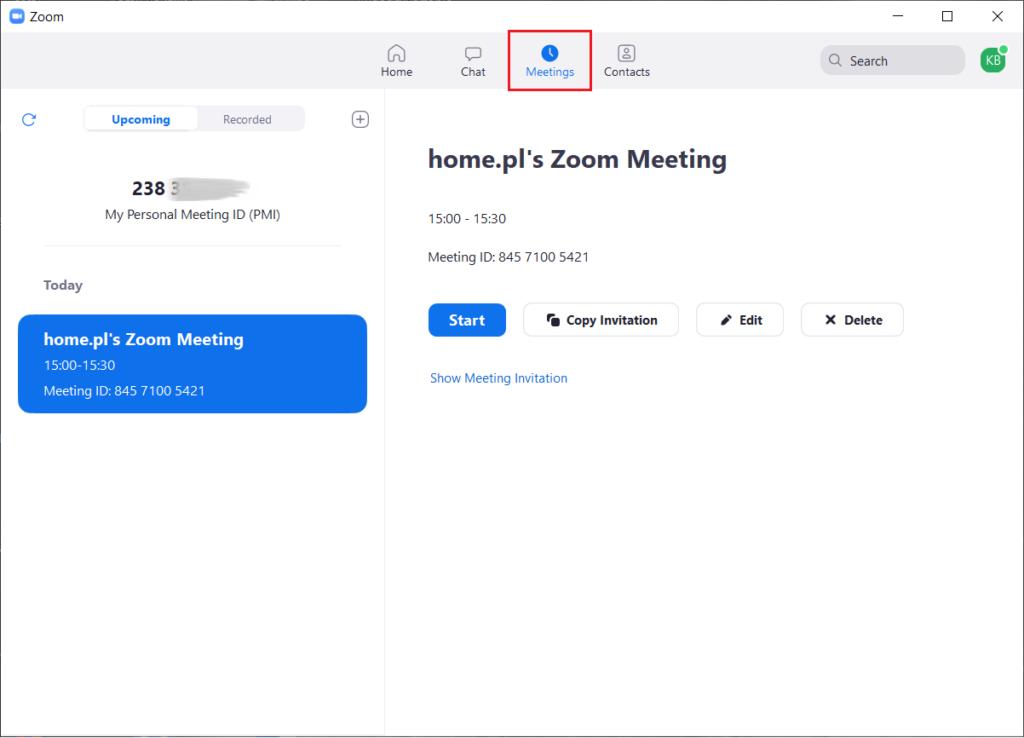 Planowanie spotkania i wysłanie zaproszenia Zoom