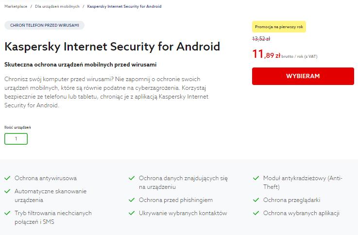 Funkcje i możliwości Kaspersky for Android