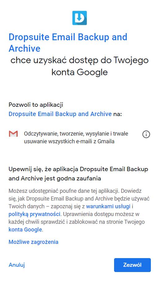 Kopia zapasowa poczty Gmail w usłudze Dropsuite