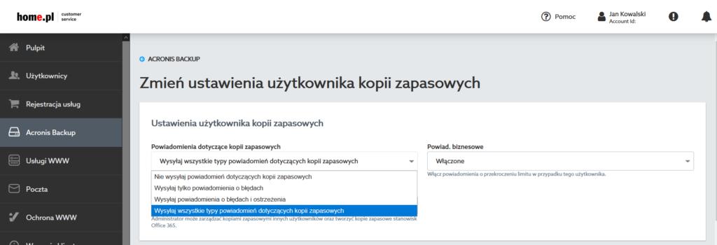 Powiadomienia Acronis Backup - Zmień ustawienia użytkownika kopii zapasowych.