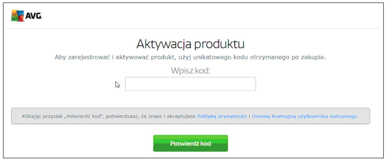 Aktywacja produktu AVG