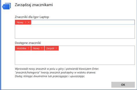 Zarządzaj znacznikami kontaktów AnyDesk