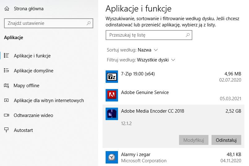Na liście kliknij w aplikację do odinstalowania i potwierdź jej usunięcie z systemu Windows 10