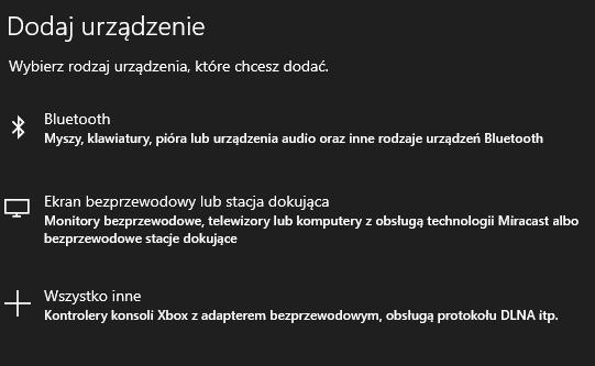 Dodaj urządzenie i wybierz rodzaj Bluetooth aby rozpocząć parowanie z komputerem PC