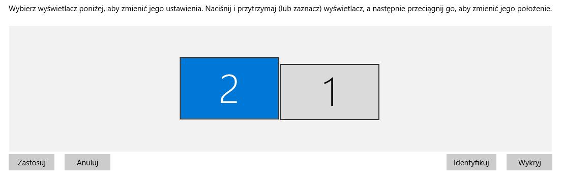 Po podłączeniu drugiego monitora zostanie on automatycznie wykryty w systemie Windows 10
