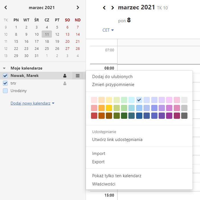 Utwórz szybko link do udostępniania kalendarz i przekaż go innym użytkownikom