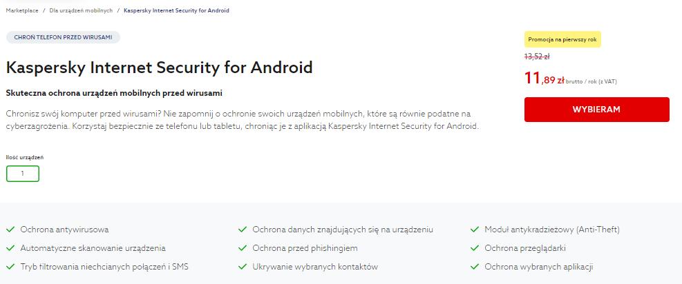 Wybierz interesujące Cię oprogramowanie Kaspersky i przejdź do koszyka aby sfinalizować zamówienie